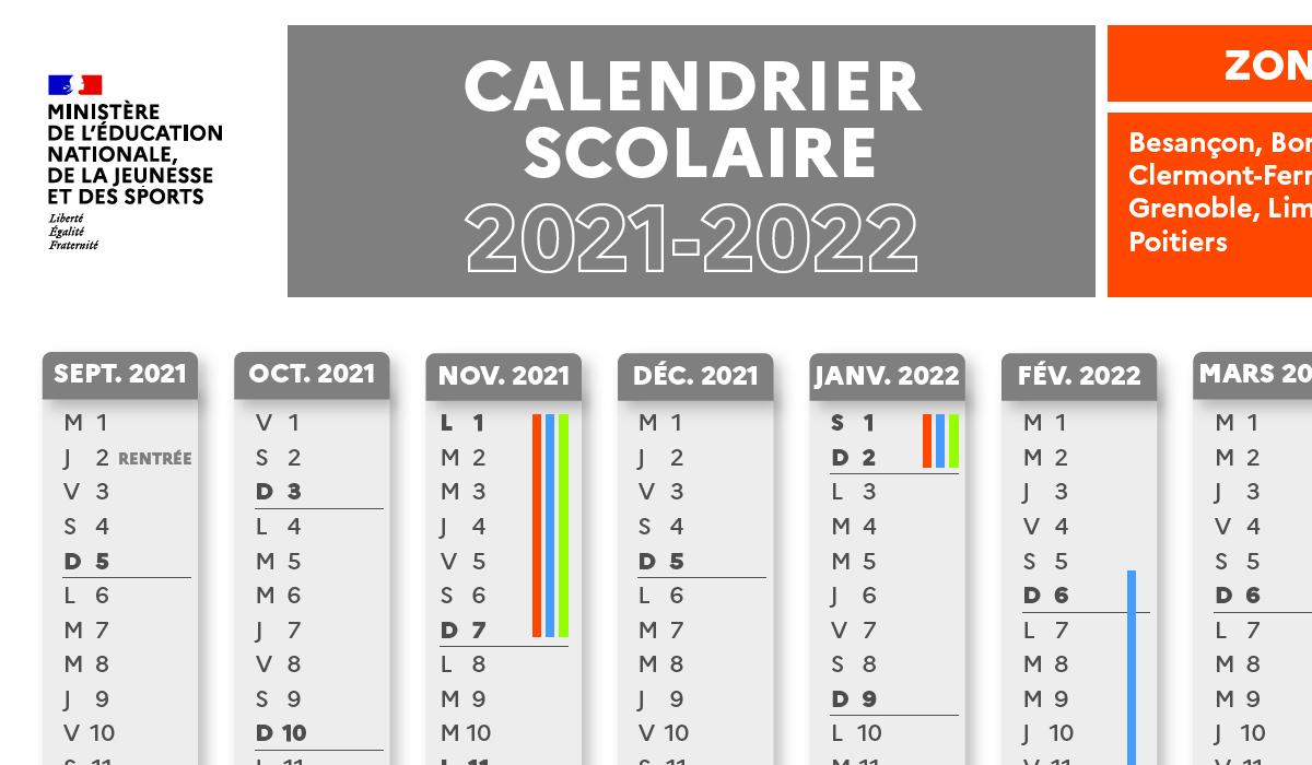 Calendrier scolaire 2022 par zone