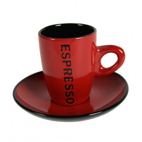 achetez des tasses pour cappuccino et espresso en ligne avec une plaque en ceramique rouge
