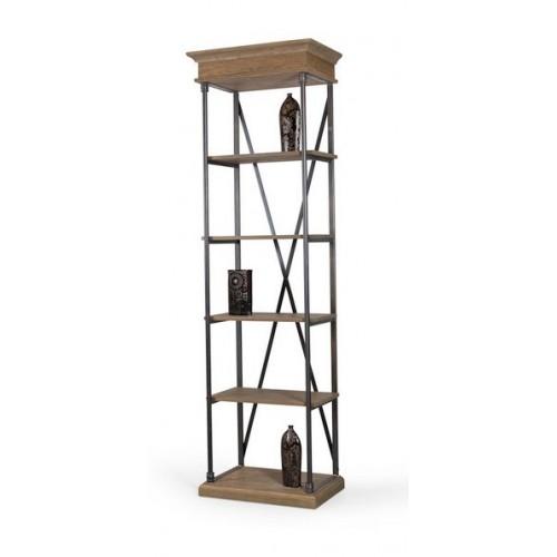 petite bibliotheque en bois de chene avec structure en fer