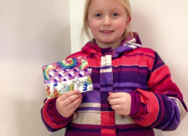 Georgia and her friends made wallets to sell, raising $50 specifically for the Calgary Food Bank!