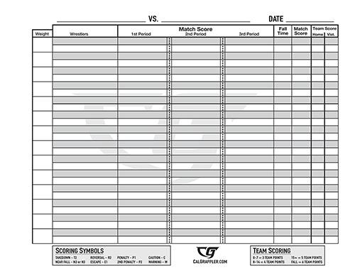 Wrestling Bout Score Sheets