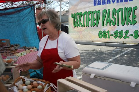 selling eggs at the market