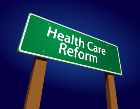 Health Care Reform Green Road Sign Vector Illustration on a Radiant Blue Background.