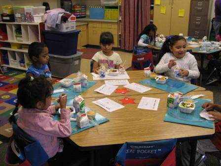 Morning Grumble feeds kids breakfast in the classroom. Photo courtesy Nutrition Policy Advocate.