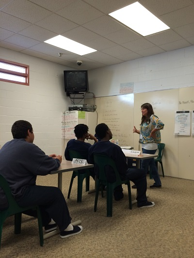 Sex educator Stephanie Bentz talks to boys in the San Joaquin County Juvenile Detention Center. Photo: Lisa Renner.