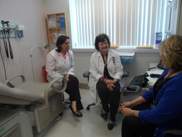 Samina Iqbal, Director of the Palo Alto VA's Women's Health Center (left) plans patient care with registered nurse practitioner Ann Thrailkill (Center) and Women Veterans Program Manager Linda Kleinsasser (right). Photo: Lynn Graebner/CHR