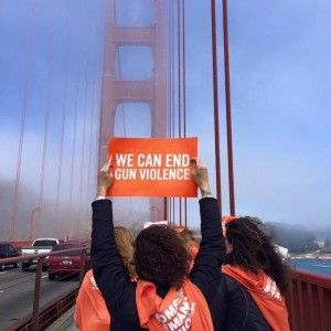 Members of the Marin County Moms Demand Action group march against gun violence on the Golden Gate Bridge. Photo courtesy of Jen Reidy.