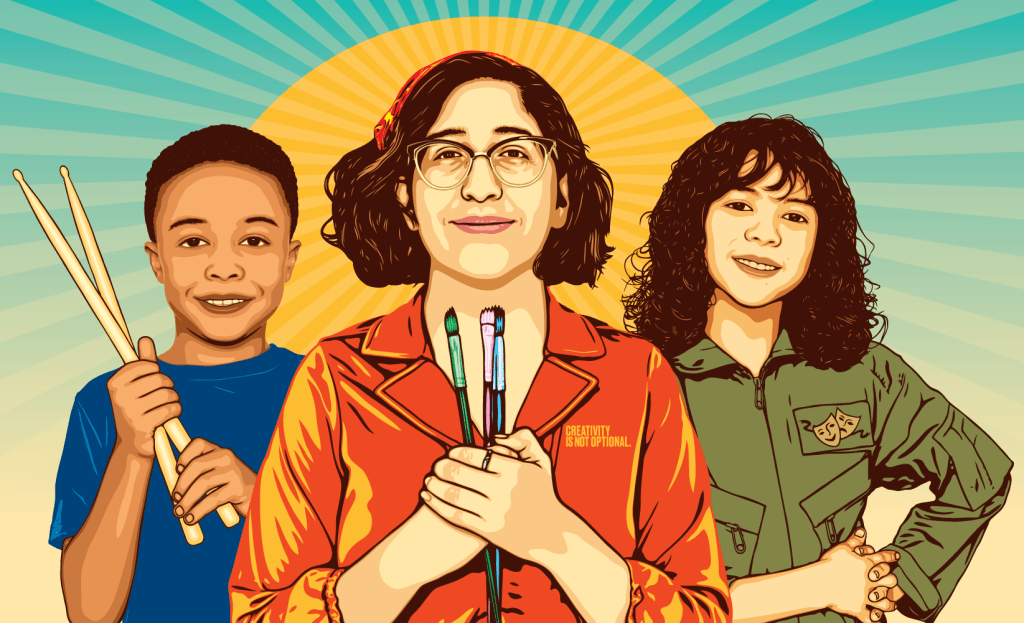 An illustration of Arlene Campa, founder of Art Hour, with fellow students.