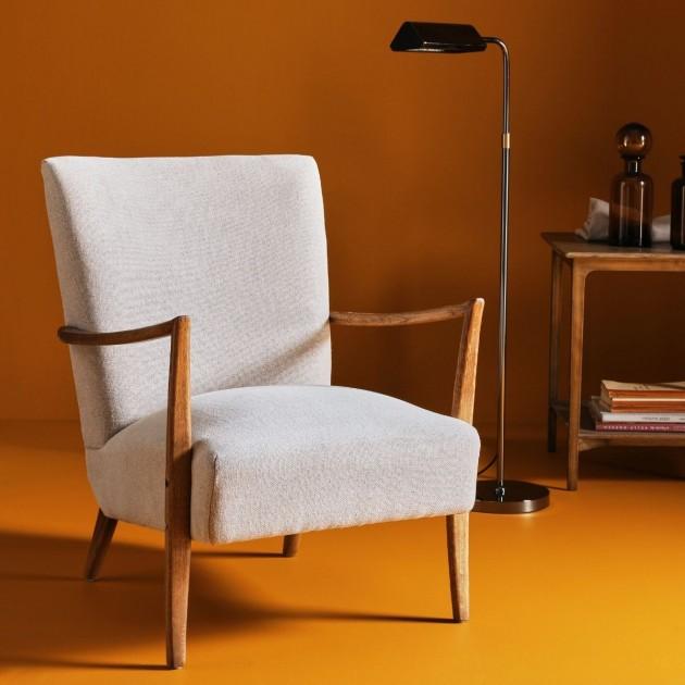 fauteuil en velours et pieds en bois de pin