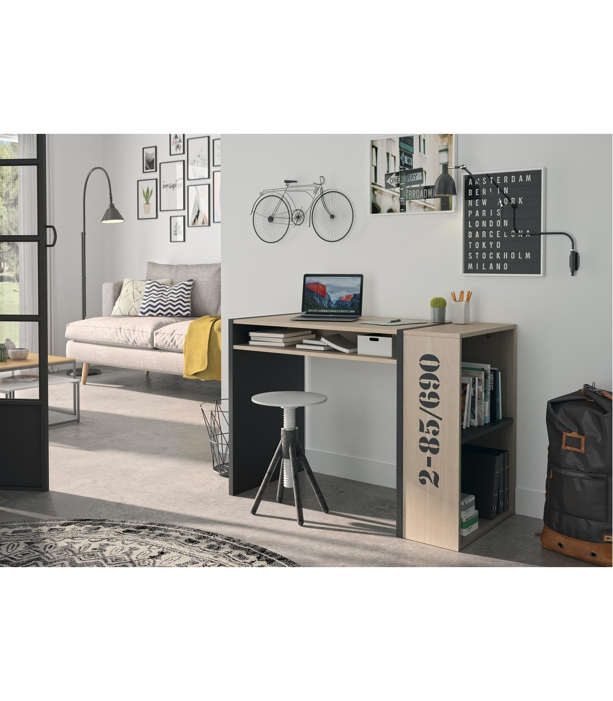 petit bureau droit style industriel bois metal pas cher calicosy