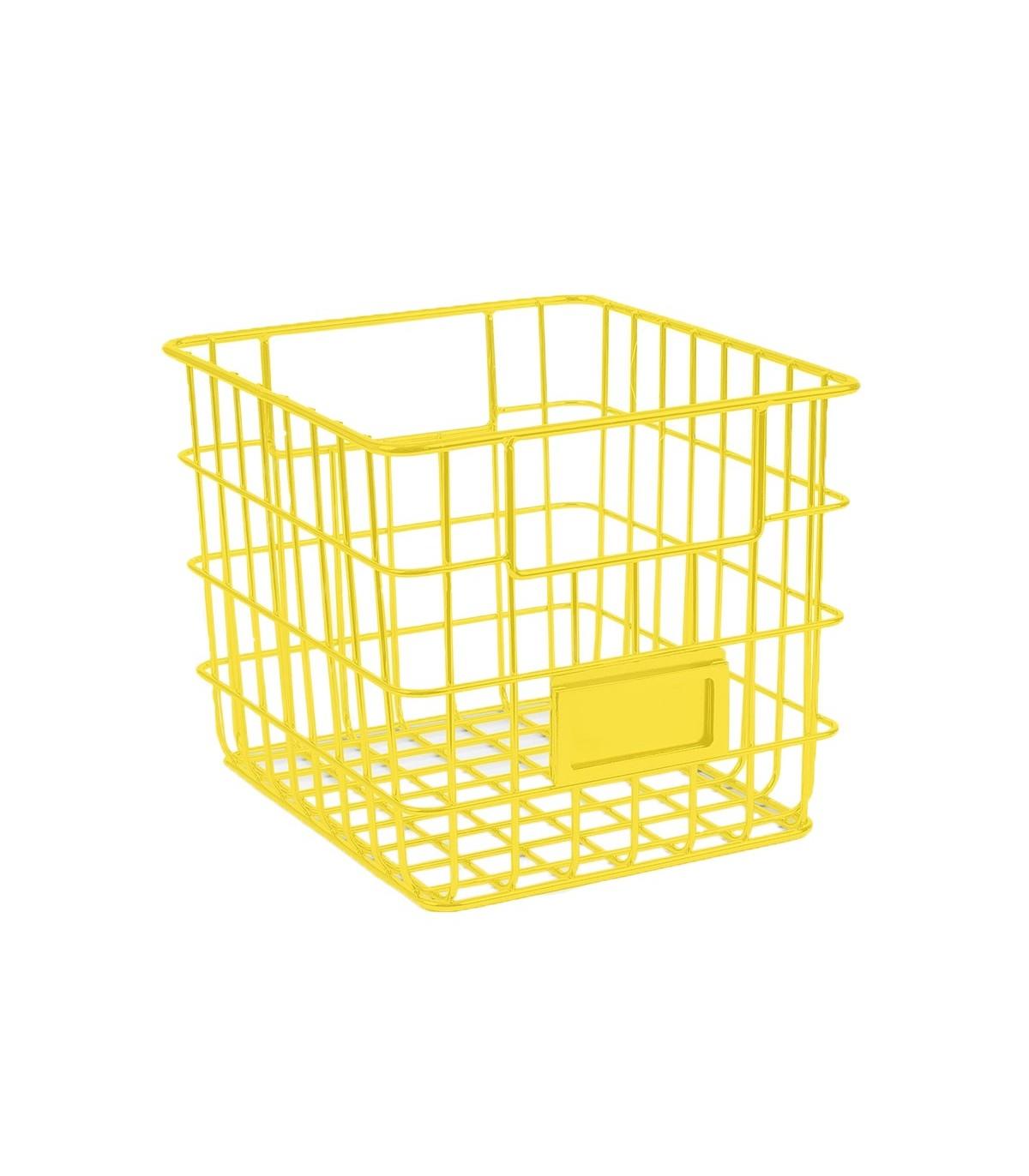 panier de rangement carre en metal filaire jaune