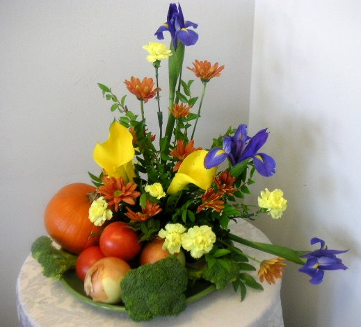 Floral Arrangement With Fruits And Vegetables Called