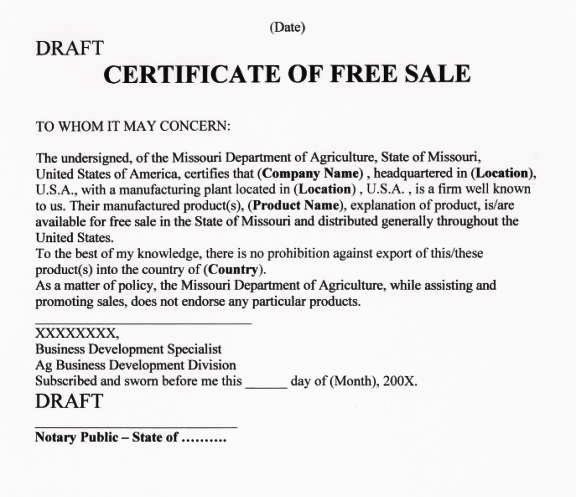 what is a certificate of free sale
