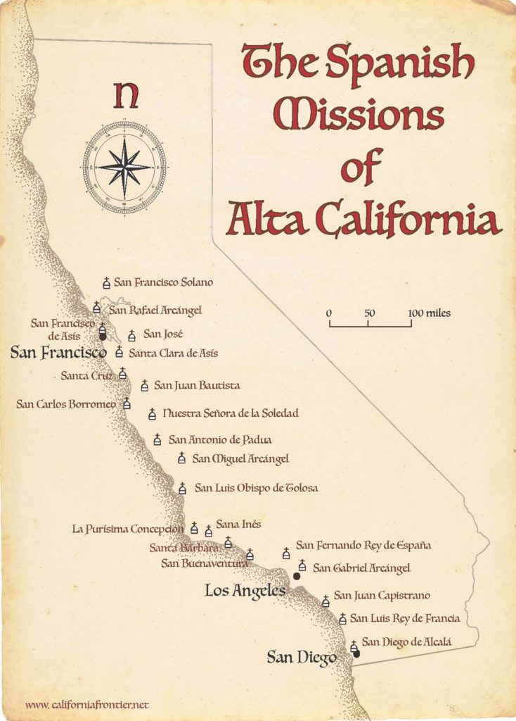 Map of the Spanish Missions in California