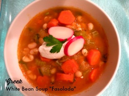 Greek White Bean Soup -Fasoulada