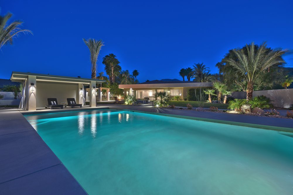 OVER POOL TO PAGODA AND HOUSE 1000px Extraordinary Home of the Week: La Quinta Contemporary