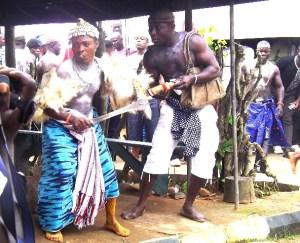 An Ekoi dancer, doing his thing