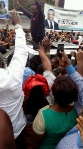 Ayade acknowledging cheers on arrival