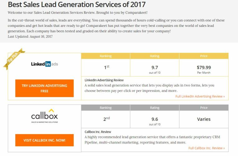 Comparakeet 2017 - Lead Generation Services - Callbox