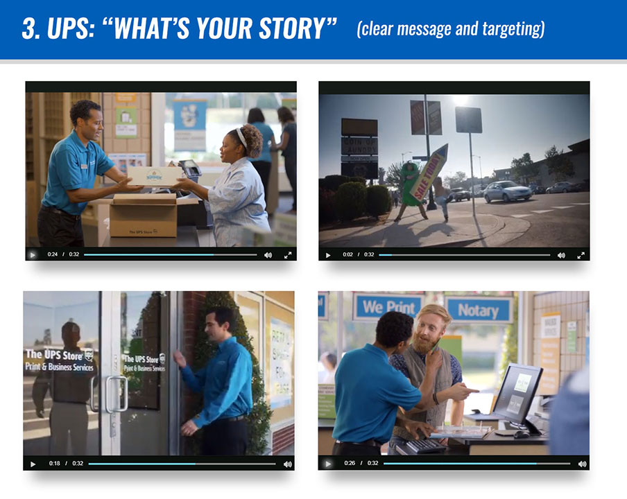 """#3 UPS: """"What's Your Story"""" (clear message and targeting)"""