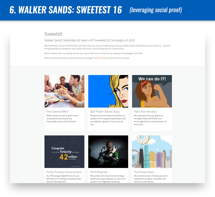 #6 Walker Sands: Sweetest 16 (leveraging social proof)