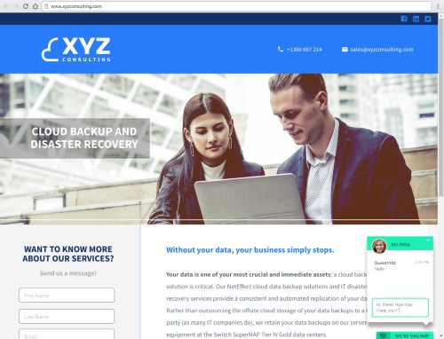 example landing page for IT consulting