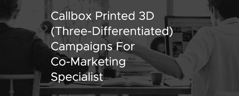 Callbox Printed 3D Three Differentiated Campaigns For Co Marketing Specialist [CASE STUDY]
