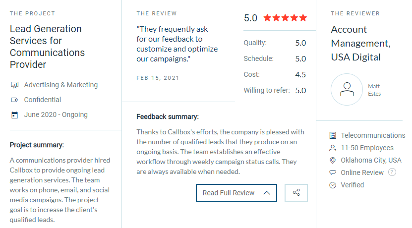 Screenshot of USA Digital's review of Callbox on Clutch