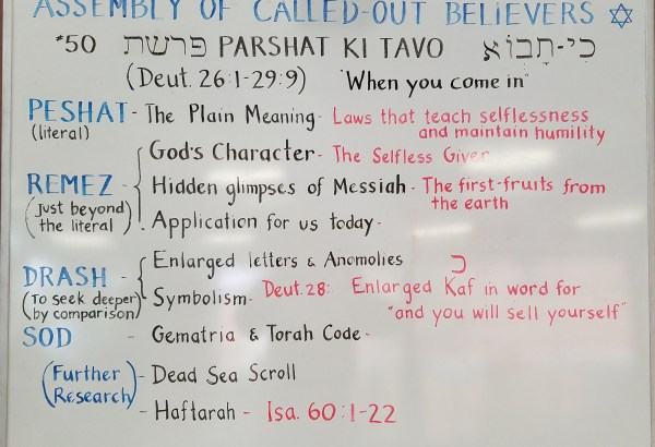 Ki Tavo whiteboard - by Rabbi Yitzchak