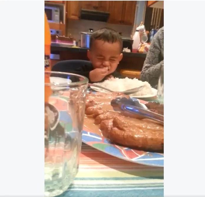 Little Boy Caught Eating Rice During Prayer