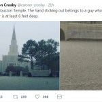 Eerie Image of Hand Sticking Up From Flood in Front of Houston Texas Temple