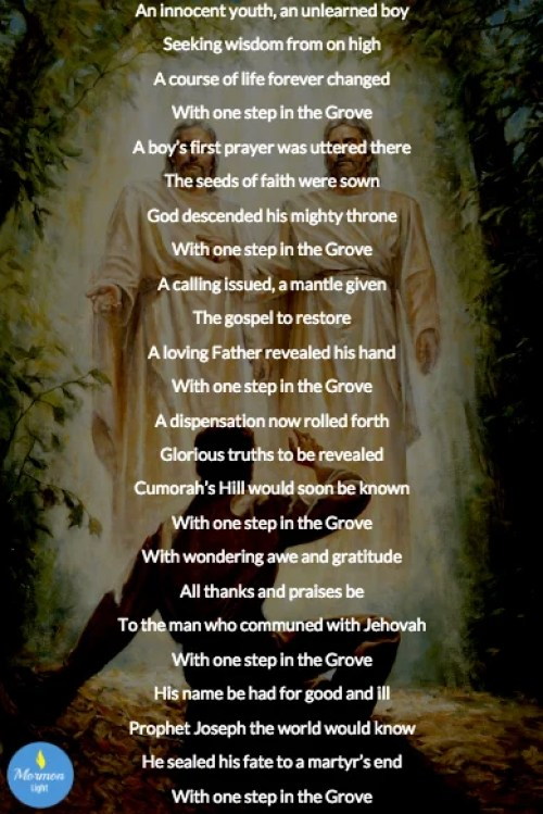 joseph smith one step in the grove poem