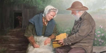 Mary Whitmer and Moroni by Robert T. Pack