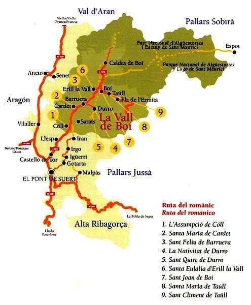 Caldes De Boi Mapa.Vall De Boi Ruta Por El Romanico De La Zona Callejeando Por El Planeta