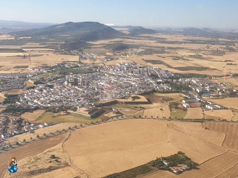 La ciudad de Olivenza desde el aire
