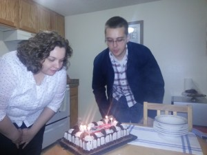 First attempt at blowing out the candles.