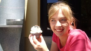 Here's Mary Ann about to eat the winning cupcake! :-)