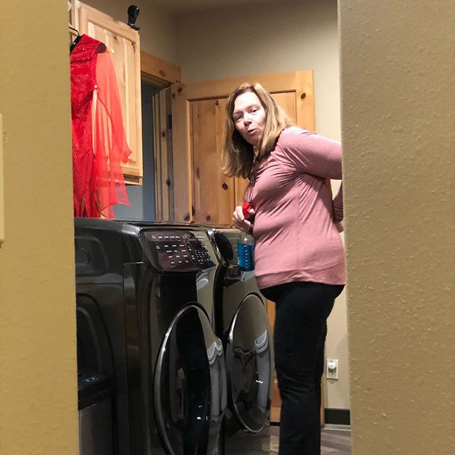 Like a brand new sports car, Jill likes to steal moments polishing her new washer and dryer.