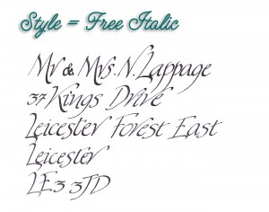 Jane's calligraphy style sheets - photos