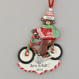 Biking Bear Personalized Christmas Ornaments