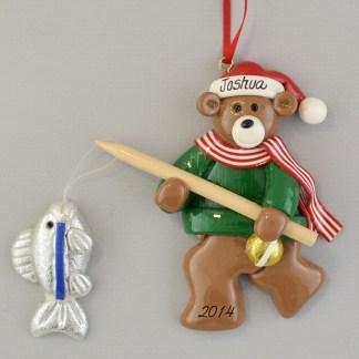 Fishing Bear Personalized Christmas Ornaments