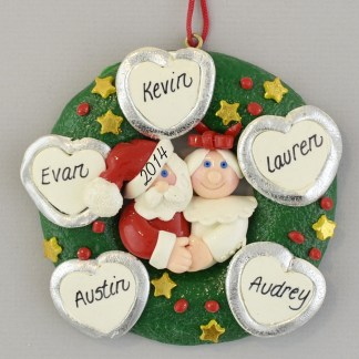 Personalized Wreath (5) Hearts personalized christmas Ornaments