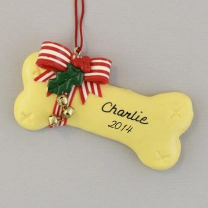 Personalized Tan Dog Bone Christmas Ornaments