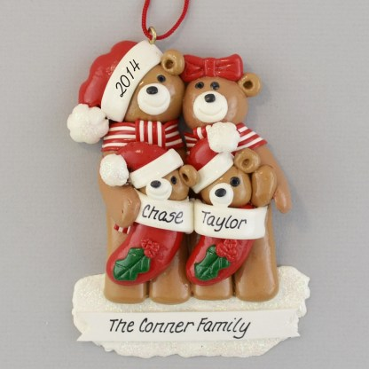 Bear Family of Four Personalized Christmas Ornaments