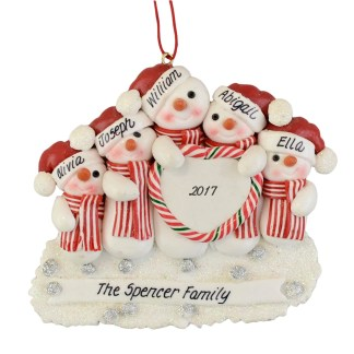 Snowman Family (5) with a Heart Personalized Christmas Ornaments