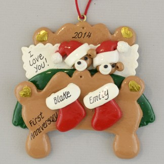 Personalized Anniversary Bears in Bed Christmas Ornaments