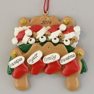 Grandparents in Bed with Two Grandkids Personalized Christmas Ornaments