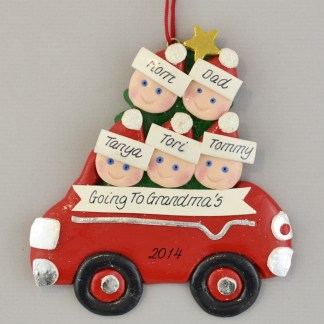 Going to Grandpa and Grandma's with Three Kids Personalized Christmas Ornaments