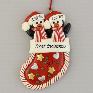 Penguins in a Stocking (2) Personalized christmas Ornaments
