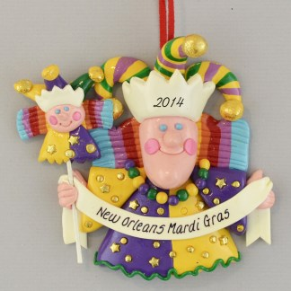 The Mardi Gras New Orleans Jesters Personalized Christmas Ornaments